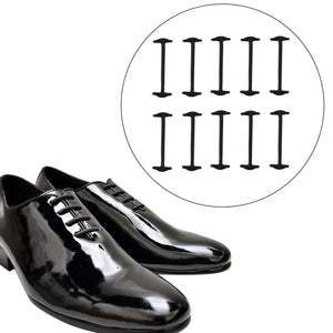 10 Pcs Creative Unisex No Tie Shoelaces Elastic Shoelace for Leather Shoes