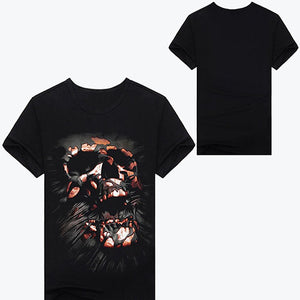 Men's Black Short Sleeve Creative Skull Digital O-neck 3D Print T-Shirt Top