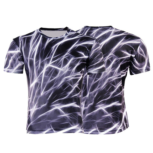 Men Casual 3D Printing Lightning T-shirt Round Neck Short Sleeve Shirt Plus Size