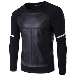 Cool Men Faux Leather Patchwork Long Sleeve Warm Pullover Sweatshirt Winter Top