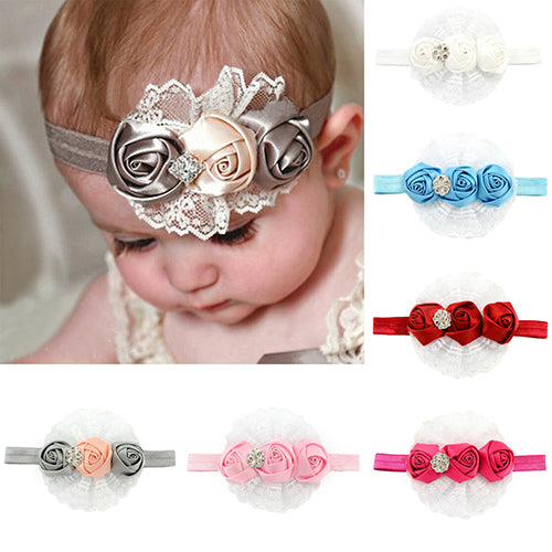 Cute Baby Kids Girl Rose Flower Headband Princess Lace Ribbon Elastic Headwear