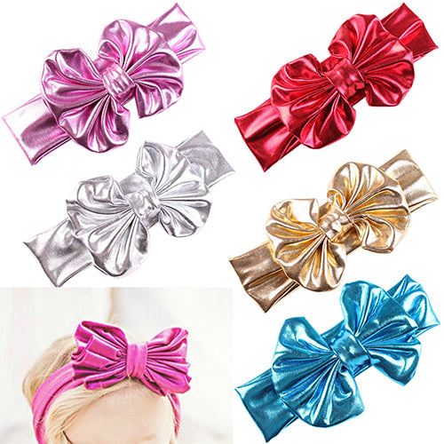 Baby Girls Kids Gilding Big Bow Hairband Headband Turban Stretch Knot Head Wrap