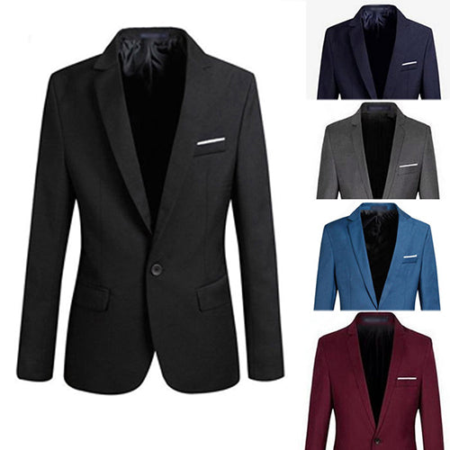 Men Fashion Slim Fit Formal One Button Suit Blazer Coat Jacket Outwear Top