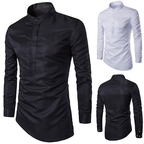 Fashion Men Cotton Solid Color Slim Fit Long Sleeve Casual Business Shirt Top