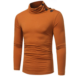 All-match Men's Turtle Neck Long Sleeve Slim T-Shirt Solid Color Bottoming Top