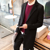 Fashion Men Solid Color Autumn Winter Coat Trench Jacket Long Parka Overcoat