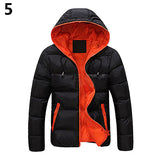 Men Slim Casual Warm Jacket Hooded Winter Thick Zipper Coat Hoodie Overcoat