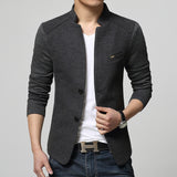 Men's Fashion Autumn Jacket Casual Long Sleeve Slim Fit Button Coat Outwear