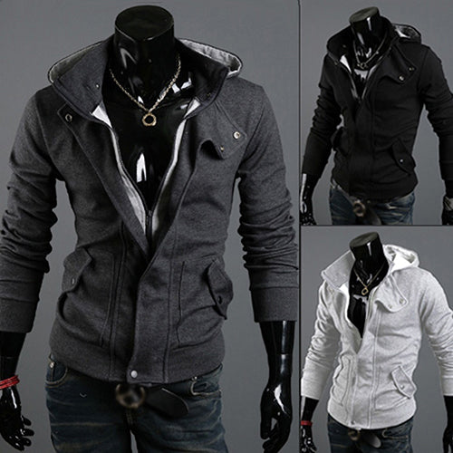 Men's Fashion Slim Hoodie Warm Hooded Sweatshirt Coat Pockets Jacket Outwear