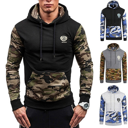 Men's Autumn Winter Fashion Camouflage Patchwork Pullover Sweatshirt Hoodie