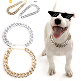Dog Collar Plastic Golden Silvery Necklace Style Small Strong Bully Pets