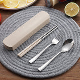 3Pcs Portable Fork Spoon Chopstick Tableware Travel Camping Cutlery Set with Box