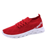 Men's Mesh Knit Letter Prints Lace Up Sneakers