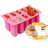 10 Grid Summer Refrigerator DIY Ice Cream Kitchen Silicone Mold with Wood Sticks