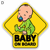 Cartoon Baby on Board Vehicle Body Windshield Reflective Sticker Decoration