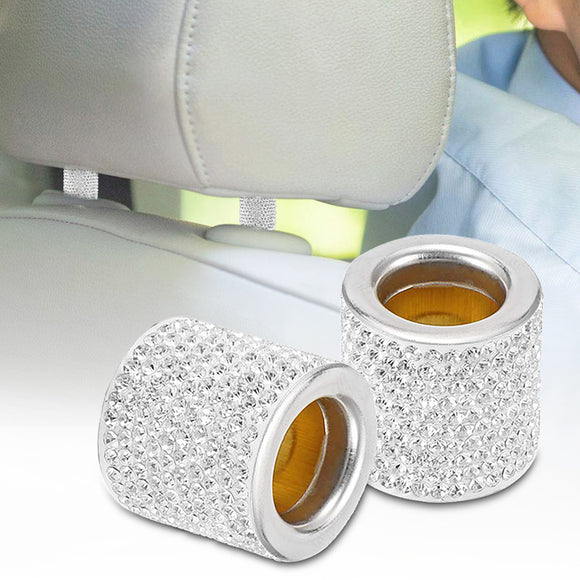 1/2Pcs Stylish Rhinestones Car Seat Headrest Pole Ring Vehicle Interior Decor