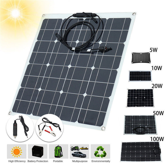 5W/10W/20W/50W/100W 12V/5V Waterproof USB Solar Panel for Phone Car Charger