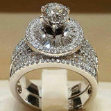 2Pcs/Set Fashion Women Cubic Zirconia Statement Engagement Finger Ring Jewelry