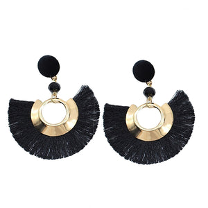 Bohemian Beach Party Fan Shape Tassel Dangle Earrings Handmade Women Jewelry