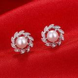 Elegant Fake Pearl Leaf Rhinestone Stud Earrings Women Fashion Jewelry Ear Studs