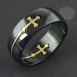 Cool Detachable Cross Men Women Titanium Steel Wide Band Ring Finger Jewelry