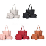 4Pcs/Set Women Faux Leather Handbag Shoulder Bag Tote Purse Messenger Clutch