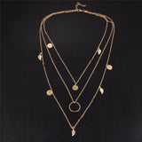 Women Fashion Jewelry Choker Multilayer Bohemian Gold Leaf Pendant Necklace
