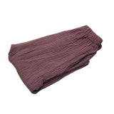 Unisex Solid Color Wrinkle Cotton Baby Kids Long Pants Trousers Leisure Bloomers