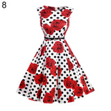 Lady Vintage Sleeveless Summer Flower Print Soft Cotton Flared Dress with Belt