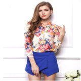 Women Autumn Fashion Sexy Floral Long Sleeve Slim Shirt Plus Size