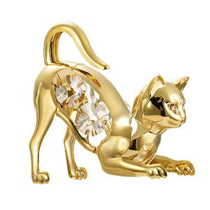 24K gold plated cat with Swarovski crystal element