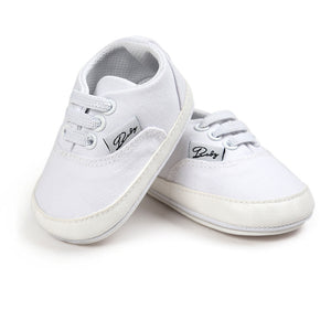 White Lace-up Canvas Simple Style Prewalkers Baby Boy  Girl Shoes For 0-18 Months