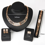 Evening Party Crystal Hollow Out Necklace Earring Bracelet Ring Jewelry Set