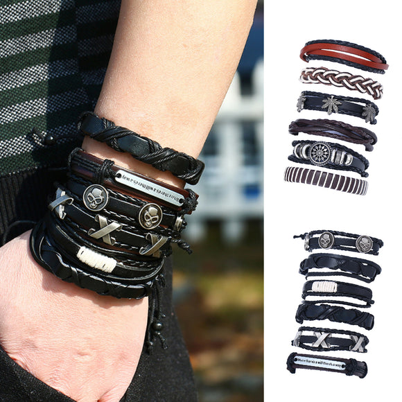 6Pcs Retro Men Faux Leather Hip Pop Punk Skull Leaf Braid Bracelet Wrist Jewelry