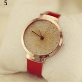 Woman Luxury Sands Starry Dial Simple Faux Leather Strap Quartz Wrist Watch