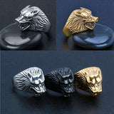 1Pc Man Vintage Wolf Head Tooth Shape Punk Finger Knuckle Cool Ring Jewelry