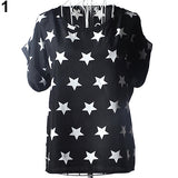 Women's Summer Chiffon Stars Pirnt T-shirts Batwing Short Sleeve Tops Blouse