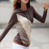 Women's Fashion Long Sleeve T-shirt O-neck Mixed Color Shirt Tee Tops Blouse