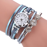 Fashion Women Multilayers Faux Leather Analog Quartz Bracelet Bangle Wrist Watch