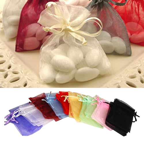 50 Pcs Organza Jewelry Gifts Drawable Box Wedding Gift Candy Mini Pouch Bag