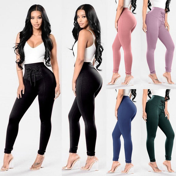 Women Fashion Stretch skinny Leggings Pencil Pants Bandage High Waist Trousers