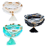 Women's Fashion Boho Beaded Rhinestone Tassels Decor Multilayer Bracelet Gift