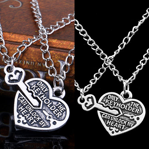 1 Pair Love Heart Key Pendant Necklace Best Friends Lovers Couple Jewelry Charm