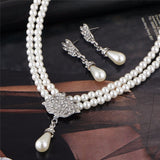 Faux Pearls Water Drop Pendant Double Layered Necklace Earrings Wedding Jewelry