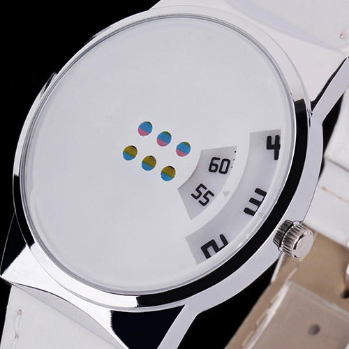 Fashion Unisex Faux Leather Strap Colorful Moveable Dial Digital Wrist Watch