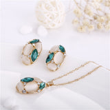 Fashion Women Jewelry Set Oval Opal Drop Pendant Sweater Chain Necklace Earrings