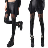 Fashion Women Bandage Faux Leather Lace Patchwork Leggings Tights Sexy Pants