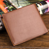 Fashion Men Faux Leather Thin Card Holder Purse Business Short Wallet Gift