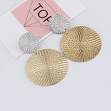 Women Exaggerated Geometric Circular Pendant Concave Convex Earring Jewelry