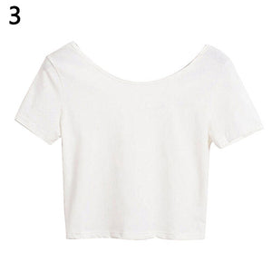 Women's Sexy Casual Solid Short Sleeve Crop Top Slim Fit Bare Midriff T-Shirt